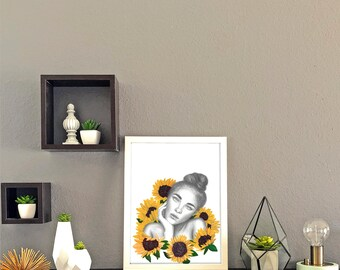 Summer Sunflowers Portrait Print