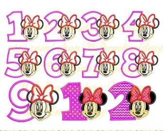Minnie Maus Gesicht applique Geburtstag 1-9 Paket, Disney Machine Embroidery Design, ms-038-1-9