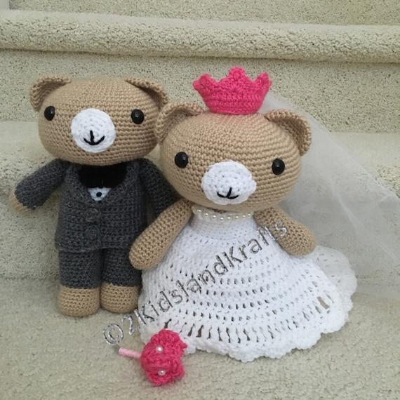 Crochet Wedding Gift Patterns: Crochet Wedding Bear Couple PDF Pattern Amigurumi Great