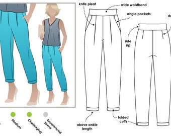 Christia Pant - Sizes 12, 14, 16 - Women's PDF Sewing Pattern by Style Arc, Ladies Pants, Indie, Casual, DIY Clothes