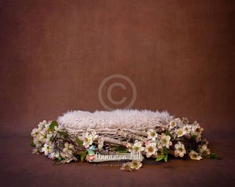 Digital Backdrop for Newborn Photography - Brown Background, Nest with Fluffly Blanket and Flowers