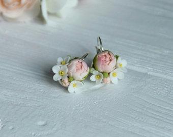 flowers earrings, peony earrings, gift for her, rustic jewelry, bride jewelry, bridesmaids gift, bride earrings, roses earrings, romantic