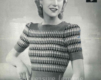 1940s Rainbow Jumper from WWII, Make Do and Mend - vintage knitting pattern PDF (403) Lavenda 915