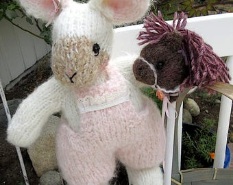 Stuffed Bunny Rabbit and Stick Pony/ Hand Knit, Embroidered Collectible Heirloom OOAK/Lollipop and the Bunny Hop!