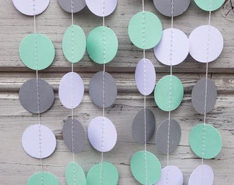 Mint and Gray paper garland, Green wedding garland, Mint weddings, Pewter shower, Mint baby shower, White backdrop, Mint photo backdrop