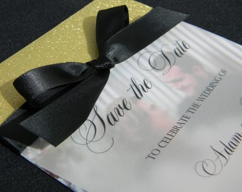 Gold Glitter and Black Save the Date Invitations, Save the Date Cards, Gold and Black Wedding, Gold Glitter, Bling, Vellum, Glittery