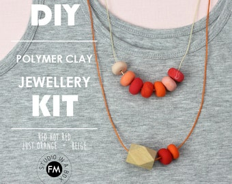 DIY Polymer Clay Jewellery Kit - Polymer clay & wood necklaces - Handmade - Red Hot Red + Beige + Just Orange Colourway