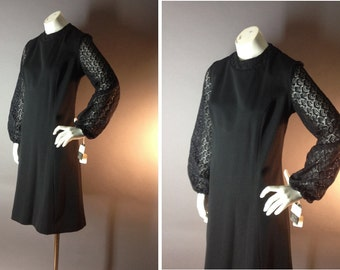 60s dress 1960s vintage BLACK LACE SHEER blouson sleeve mod goth deadstock nos w tags dress