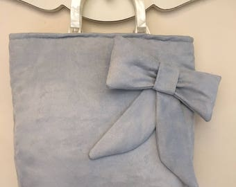 Baby blue velveteen evening bag
