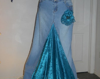 Belle Époque Turquoise bohemian jean skirt teal green velvet mermaid goddess vintage lace sequins