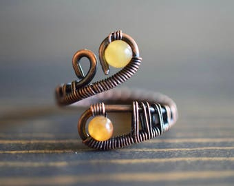 Amber Quartz Stone Copper Ring. Stone Ring. Wire Weaving. Wire Wrapped. Boho Jewelry. Boho Ring. Unique Ring.