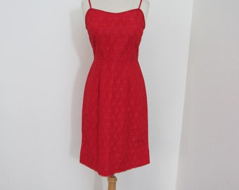 1960s Red Lace Wiggle Dress with Spaghetti Straps