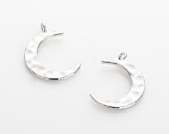 Hammered Moon Pendant (Large), Hammered Moon Charm, Polished Rhodium-Plated - 4 Pieces [P0025-PR]