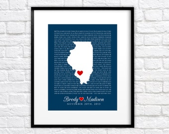 Movie Quotes, Custom Wedding Gift -  Personalized Map Art Print, Lyrics, Song, Quote, The Notebook, Dirty Dancing, Husband Gift