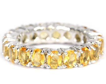 Edwardian Downton Abbey Jewelry 14k White Gold Vermeil Citrine Full Band Ring (USA 5, UK J 3/4) - Truly Venusian