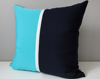 Decorative Navy Blue Outdoor Pillow Cover, Modern Pillow Cover, Turquoise & Navy Color Block, Blue White Sunbrella Cushion Cover, Mazizmuse