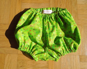Printed cotton bloomers green flashy, 12-24M.