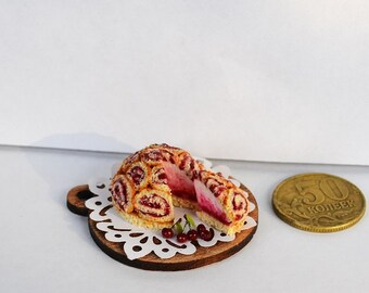 Dollhouse Miniature, Cherry Cheesecake  Miniature Food, Miniature Food Jewelry,cherry pie,cherries