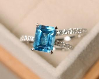 Swiss blue topaz ring, engagement ring, blue gemstone topaz ring, wedding ring,emerald cut ring