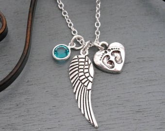 Miscarriage Necklace, Angel Wing Baby Feet Necklace, Angel Wing Birthstone Necklace, Angel Wing Heart Necklace, Miscarriage Gifts, Custom