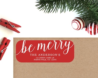 Holiday Return Address Labels (Set of 18) - Be Merry Labels, Christmas Address Labels, Return Address Labels, Personalized Labels, Christmas