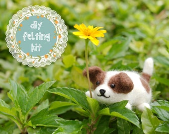 Needle Felting Kit DIY - Dog Jack Russell // Cute Needle Felted Animal // Easy Beginner Needle Felt Craft Kit // Perfect Gifts for Crafters