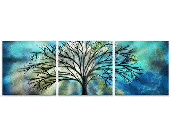 Whimsical Tree Art 'Moonlight Triptych' by Stephanie Fields - Abstract Landscape Fantasy Artwork on Metal or Acrylic