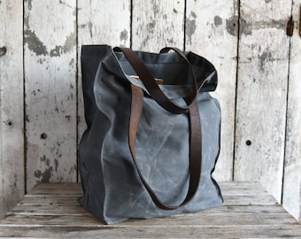 Waxed Canvas Marlowe Carryall Slate Grey Bag Waxed Canvas Handbag Wax Canvas Farmers Market Tote Marlowe Carryall Birthday Gift Fathers Day
