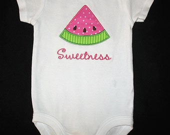 Custom Personalized Applique WATERMELON and NAME Bodysuit or Shirt - Pink and Lime Green
