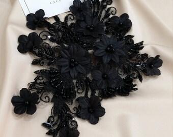 Black 3d Lace applique, Beaded lace applique, French Chantilly lace applique, 3D lace, bridal lace applique M0027