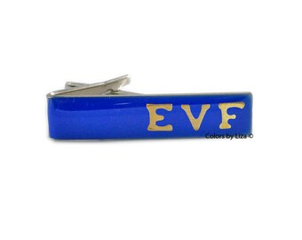 Personalized Tie Clip Hand Painted  Cobalt Blue Glossy Enamel Classic Tie Bar Accent Assorted Colors Available
