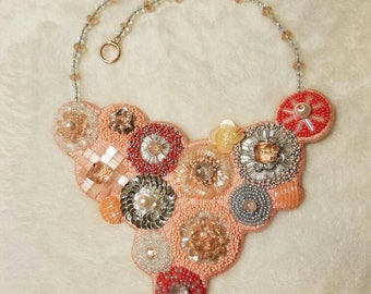 Peach and silver bead embroidery necklace