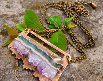 Amethyst Slice necklace | amethyst geode necklace | artisan metalwork | amethyst crystal | Raw amethyst pendant | natural amethyst necklace