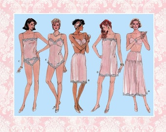 Vintage 1986-LOVELY LINGERIE COLLECTION-Vogue Sewing Pattern-Camisole-Teddy-High Thigh Cut Panties-Full-Half Slips-Lace Trim-Size 6-14-Rare