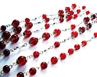 Extra Long Red Necklace Glass Jewelry Silver Necklace Everyday Jewelry Long Necklace Red Jewelry Beaded Necklace Statement Jewelry Gift Idea