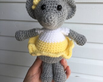 READY TO SHIP: Amigurumi Elephant/ Crochet Elephant Doll/ Photo Prop