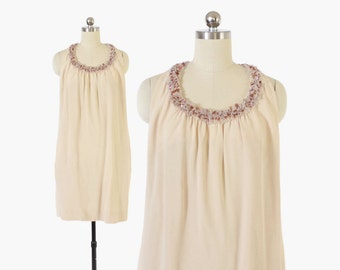 Vintage 60s Cocktail DRESS / 1960s GINO CHARLES Beaded Sequin Mini Dress xs - s