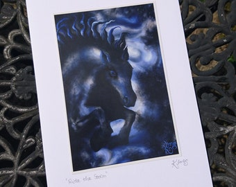 Gothic Storm Horse Greeting Card - cloud, thunder, fantasy art, painting, galloping, blank, blue, black, signed, art card, expressionist