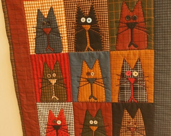 Quilted Wall Hanging of Cats, Cats Lovers Dream, Ready to Hang