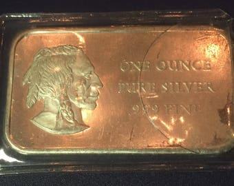 Vintage 1976 bicentennial 1 ounce .999 fine silver bar indian head