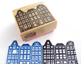 Hand Carved Rubber Stamp, European Residential Street