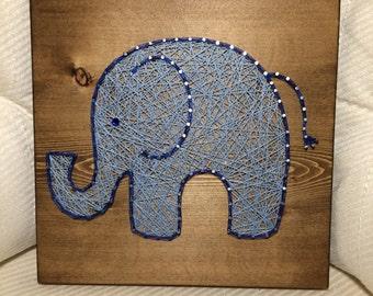 CUSTOM Elephant String Art, Nursery Art, nail art, handmade wall hanging, baby, animal/jungle, Christmas Gift, Christmas Present