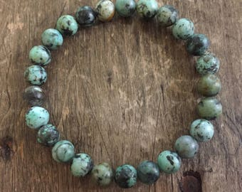 Stackable Mala Inspired African Turquoise Spiritual Junkies Yoga and Meditation Bracelet