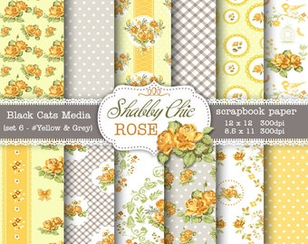 Yellow Shabby Chic Digital paper 12 x 12 in AND 8.5x11 in  -Shabby chic rose  instant download – pattern