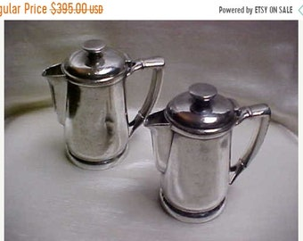 Spring Sale Vintage 1930's Union Pacific Railroad Silver Plate UPRR Coffee Pot lot of 2 Sizes Well Used AS IS
