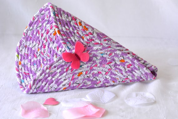 Violet Door Hanger, Lovely Pink Wall Art, Artisan Quilted Wall Vase, Handmade Violet Home Decor, Modern