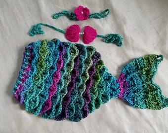 Mermaid Costume,Baby Mermaid Cocoon,Crochet Mermaid Tail Cocoon,Ariel Inspired Mermaid,Crochet Infant Mermaid Set,Baby Halloween Costume