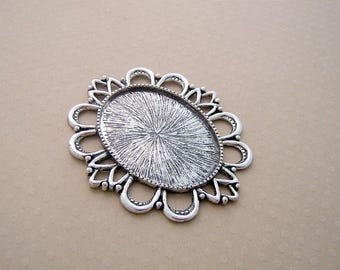 Silver pendent oval cabochon 30 x 40 mm - SCABOA3040 9990