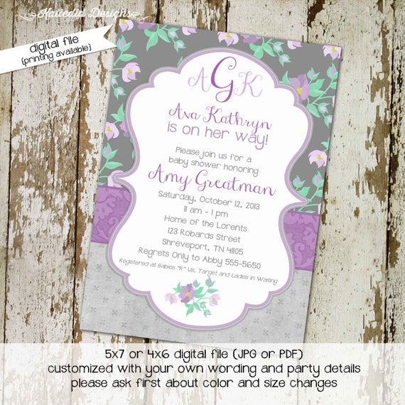rustic baby girl shower invitation diaper wipe brunch little girl 1st birthday floral chic invite monogram purple gray 1376 Katiedid designs