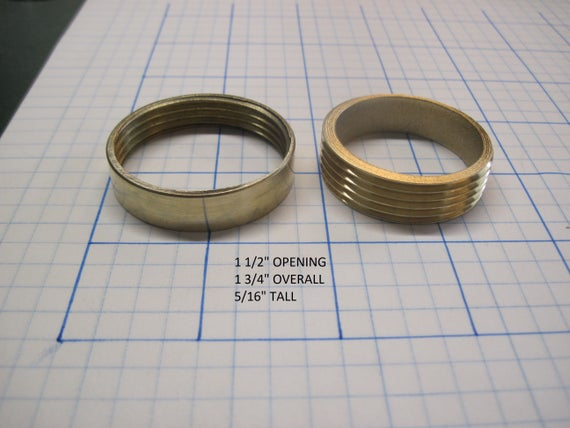 "1 1/2"" Opening Threaded Brass Inserts Thin Straight Sides"